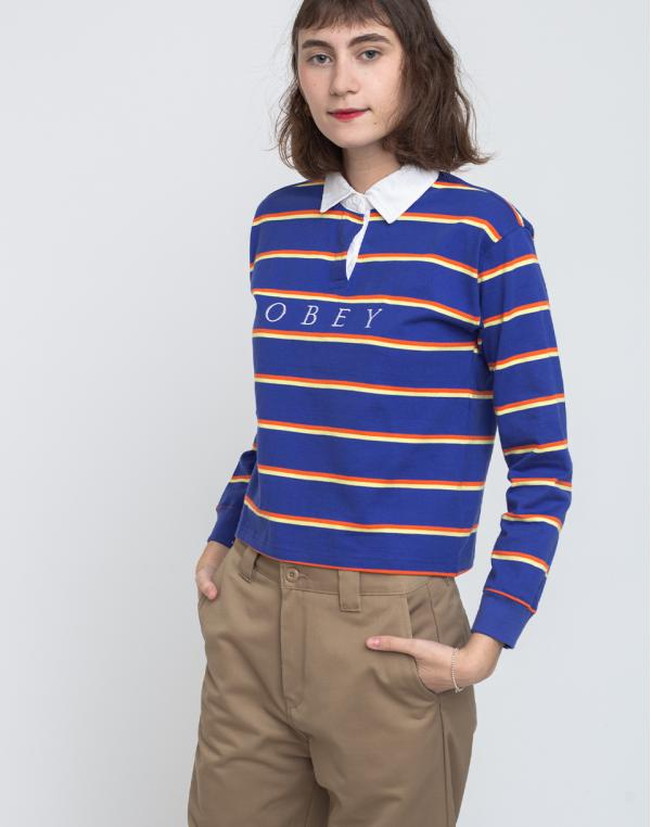 Obey Noble Cropped Rugby Cobalt Multi M