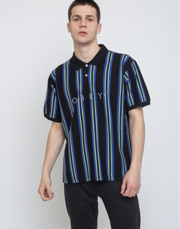 Obey Aahby Polo Black Multi L