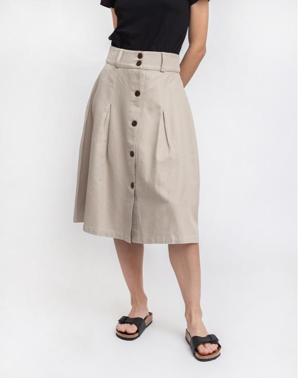 Thinking MU Stone Hemp Tugela Skirt Stone L