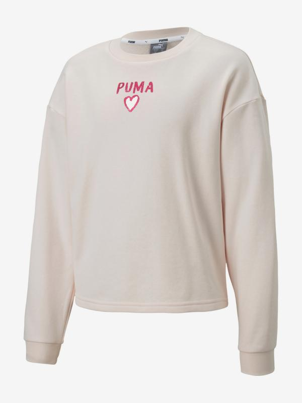 Mikina Puma Alpha Crew Sweat Bílá