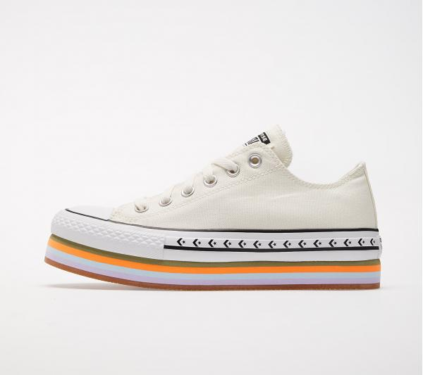 Converse Chuck Taylor All Star Platform Layer OX Egret/ Total Orange/ Gum