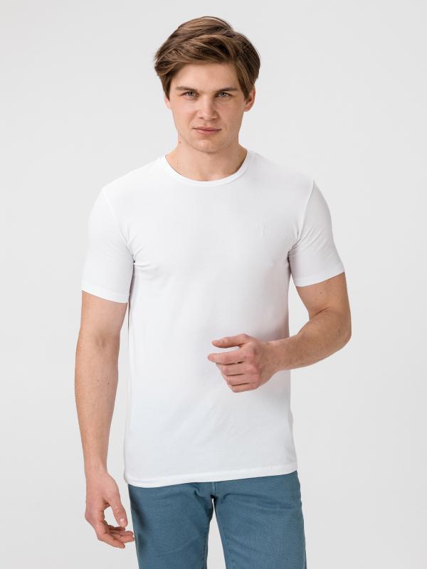 Tričko Trussardi T-Shirt Cotton Stretch Slim Fit Bílá