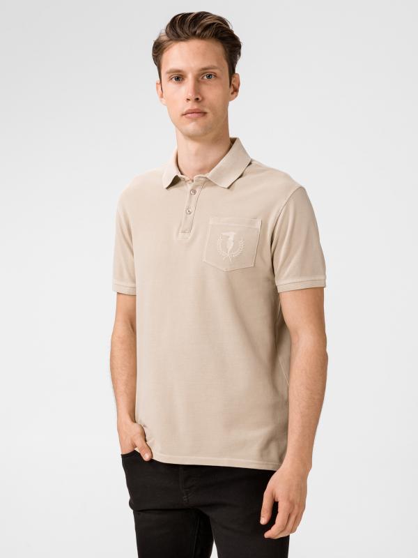 Tričko Trussardi Polo Piquet Pure Cotton Regular Fit Béžová