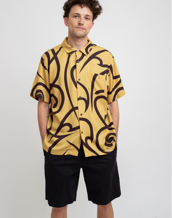 Stüssy Tribal Pattern Shirt Mustard M