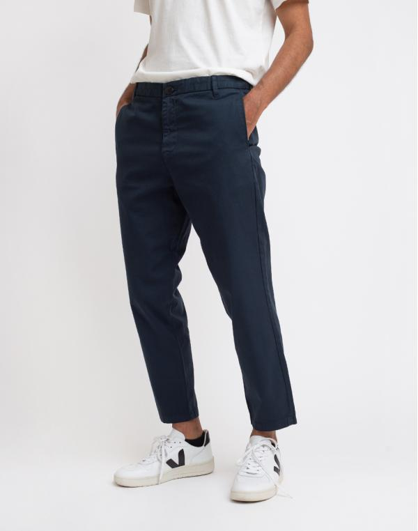 Knowledge Cotton Bob Loose Cropped Chino Pant 1001 Total Eclipse 33