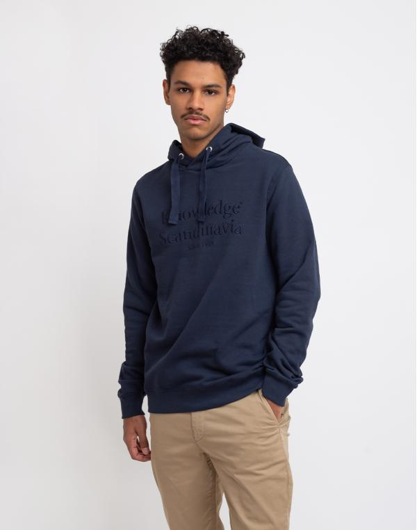 Knowledge Cotton Elm Knowledge Scandinavia Hoodie Sweat 1001 Total Eclipse S