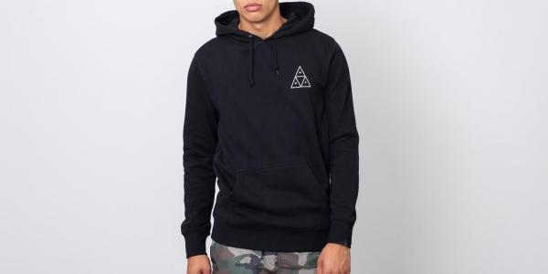 HUF Essentials Triple Triangle Pullover Hood Black