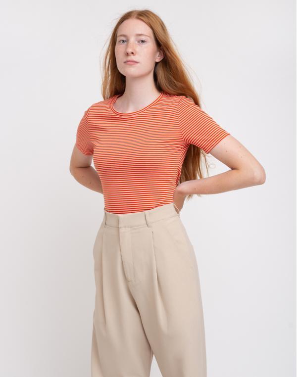 Armedangels Lidiaa Ring Stripes Glossy Orange/Kitt XS