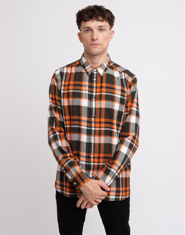 Knowledge Cotton Larch Casual Fit Checked Flannel Shirt 1090 Forrest Night M