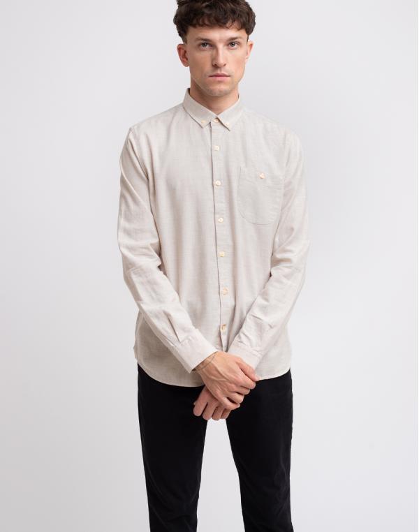 Knowledge Cotton Elder Regular Fit Melange Flannel Shirt 1165 Greige S