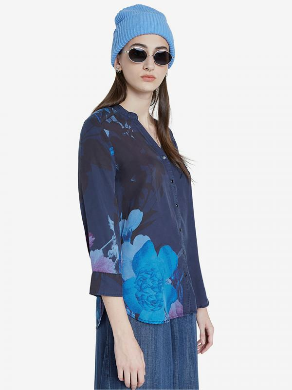 Tencel Floral Halenka Desigual Modrá