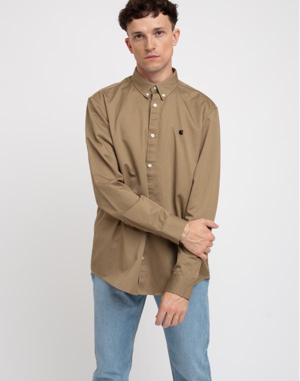 Carhartt WIP L/S Madison Shirt Leather/Black L