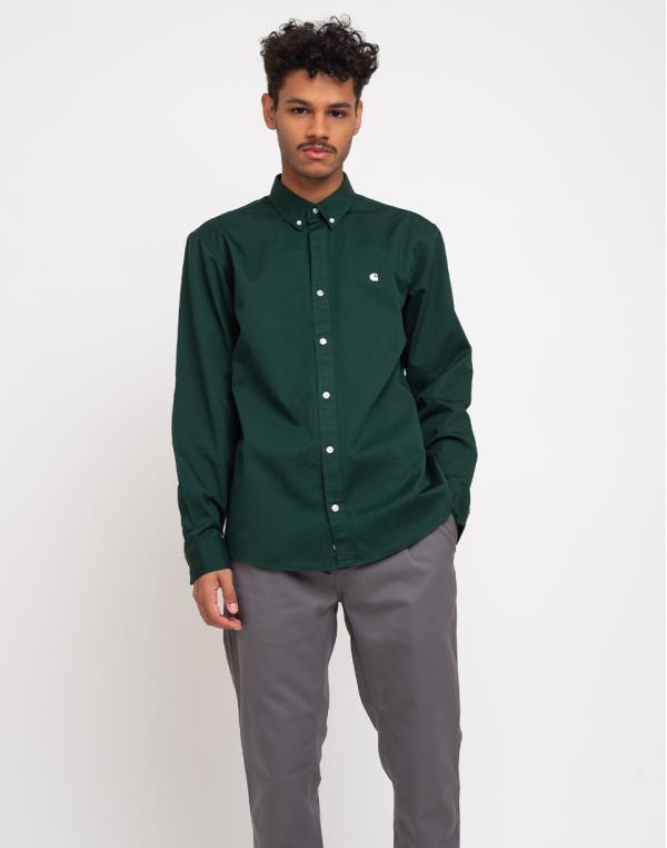 Carhartt WIP L/S Madison Shirt Bottle Green/Wax L
