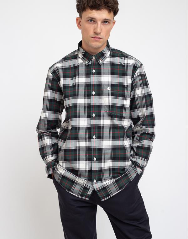 Carhartt WIP L/S Steen Shirt Steen Check/Bottle Green L