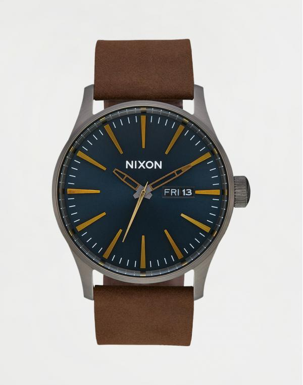 Nixon Sentry Leather Gun Metal/ Indigo Brown