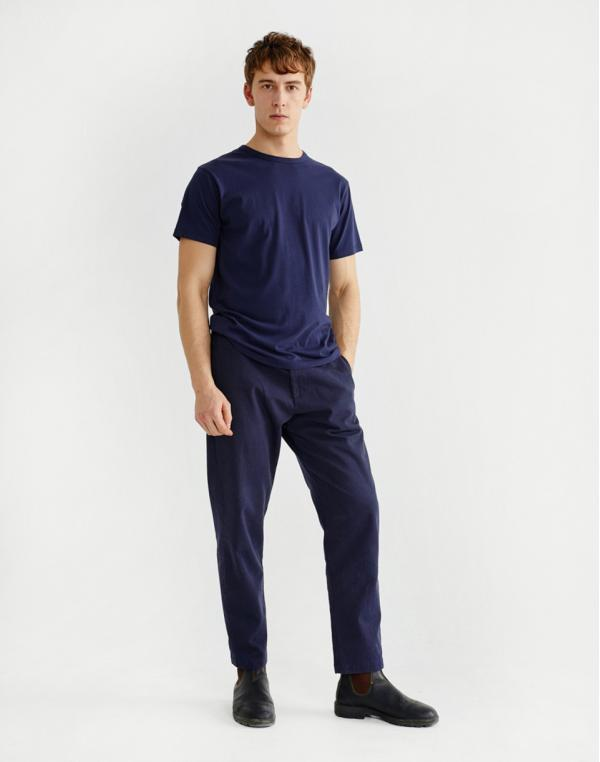 Thinking MU Basic Navy Hemp T-Shirt Navy M