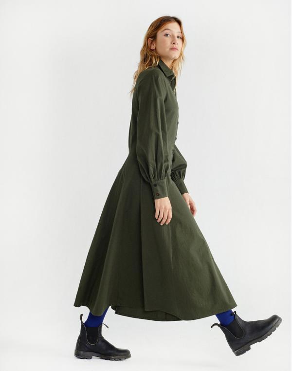 Thinking MU Green Freya Dress Dark Green S
