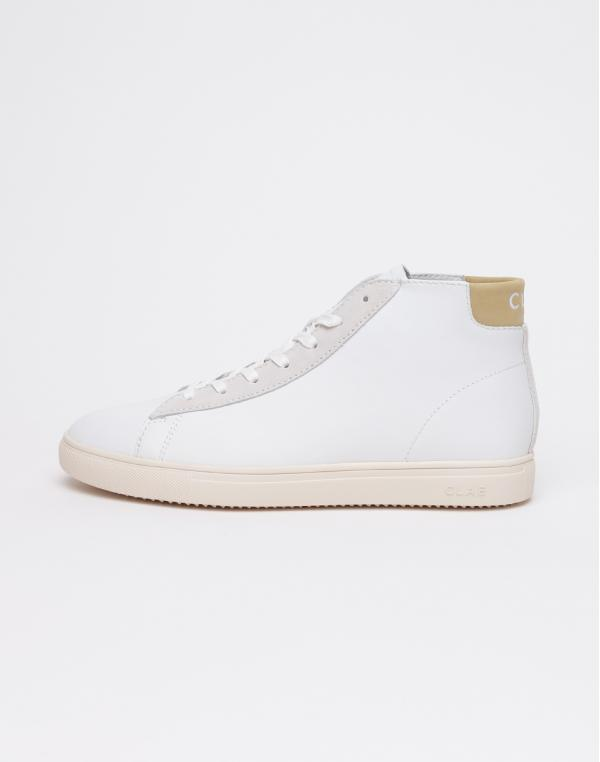 Clae Bradley Mid WHITE LEATHER CAMEL 42