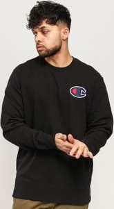 Champion Satin C Logo Cotton Terry Sweatshirt černá