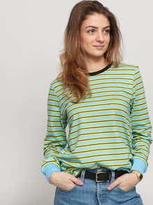 Stüssy Printed Stripe LS Tee světle modré / žluté / tmavě šedé