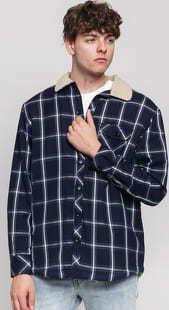 Urban Classics Sherpa Lined Shirt Jacket navy / bílá