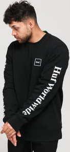 HUF Essentials Domestic Crewneck černá