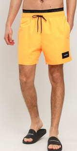Calvin Klein Medium Double Waistband Swim Shorts neon oranžové