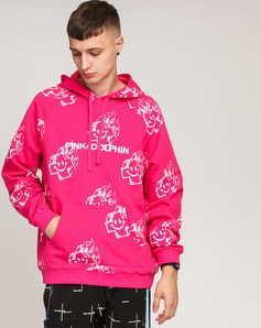 Pink Dolphin Mr. Positive Sketch Hoodie růžová / bílá