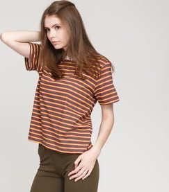 Stüssy Printed Stripe Tee tmavě hnědé / červené / žluté