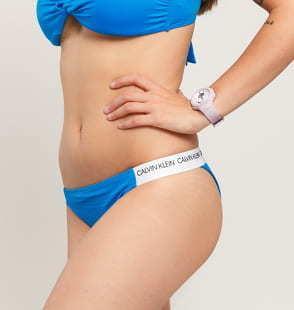 Calvin Klein Cheeky Bikini - Slip modré / bílé
