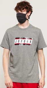 Jordan M J Sticker SS Crew melange šedé