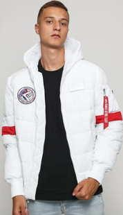 Alpha Industries Hooded Puffer FD NASA bílá