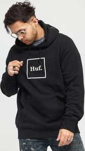 HUF Essentials Box Logo PO Hoodie černá