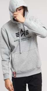 Alpha Industries Basic Hoody melange šedá