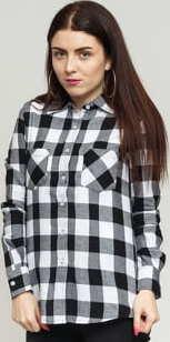 Urban Classics Ladies Checked Flanell Shirt černá / bílá