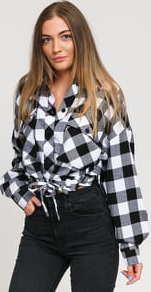 Urban Classics Ladies Short Oversized Check Shirt bílá / černá