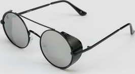 Jeepers Peepers Round Sunglasses stříbrné / černé