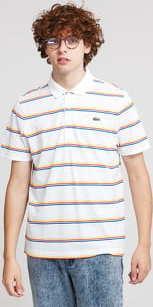 LACOSTE Striped Lightweight Cotton Polo Shirt bílé