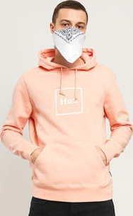 HUF Essentials Box Logo Hoodie růžová