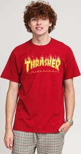 Thrasher Flame Logo Tee tmavě červené