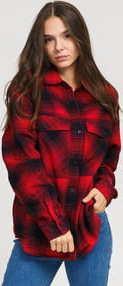 Urban Classics Ladies Check Overshirt červená / černá