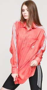 adidas Originals Satin Button Up tmavě růžová