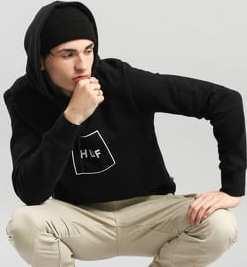 HUF Original Logo Pullover Hoodie černá