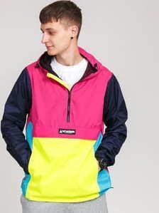 HUF Wave Anorak Jacket růžová / žlutá / světle modrá / navy