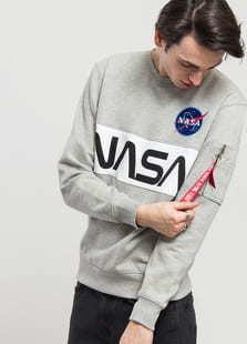 Alpha Industries NASA Inlay Sweater melange šedá