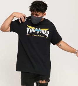 Thrasher Fire Logo Tee černé