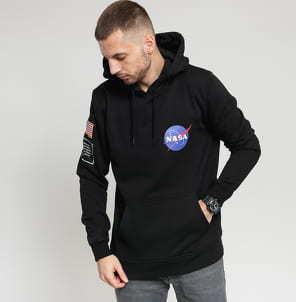 Urban Classics NASA Insignia Flag Hoody černá