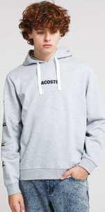LACOSTE Crocodile Print Hooded Cotton Sweatshirt melange šedá