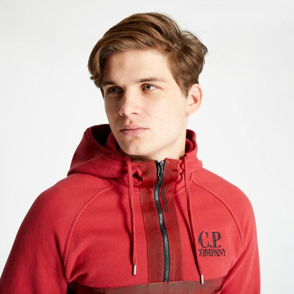 C.P. Company Diagonal Fleece Hoodie Red