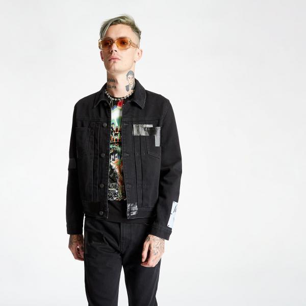 McQ Taped Pleated Denim Jacket Black